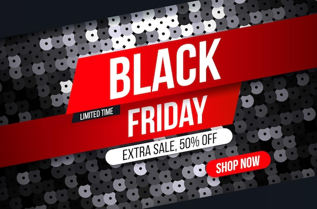 Nowoczesny baner black friday z efektem czarnej tkaniny cekinowej na promocje, wyprzedaże i rabaty.