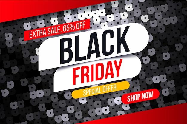 Nowoczesny baner black friday z efektem czarnej tkaniny cekinowej na specjalne oferty wyprzedaży i rabatów