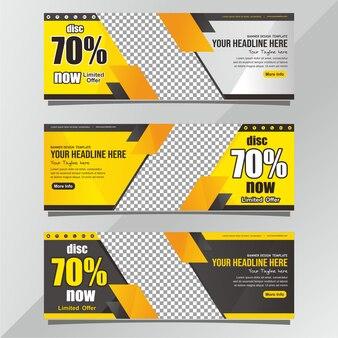 Nowoczesny Baner Czarny I żółty Szablon Premium Wektorów