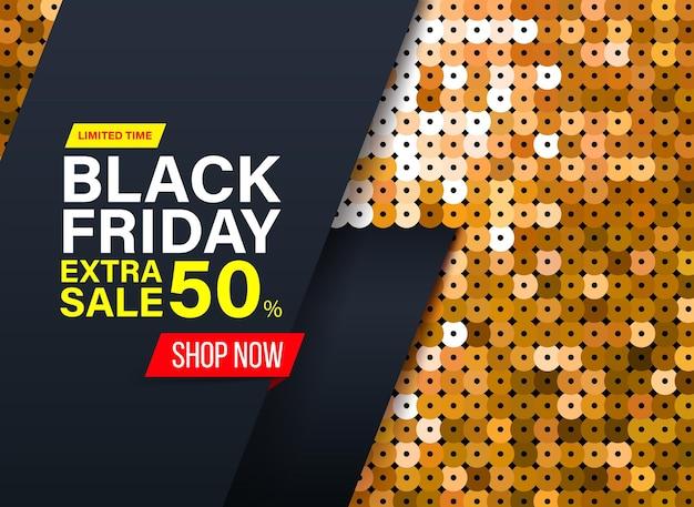 Nowoczesny baner na czarny piątek z efektem złotej tkaniny cekinowej na specjalne oferty wyprzedaży i rabatów