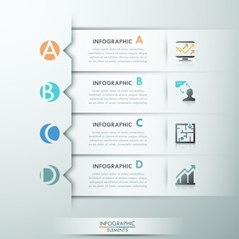 Nowoczesny baner opcja infographic z 4 wstążkami