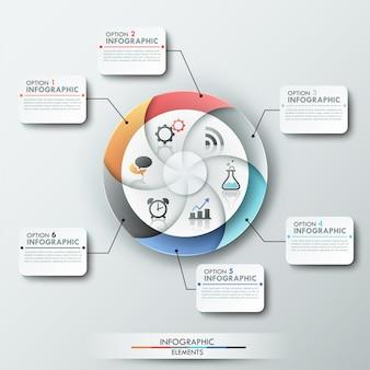 Nowoczesny baner opcji infografiki z 6-częściowym wykresem kołowym