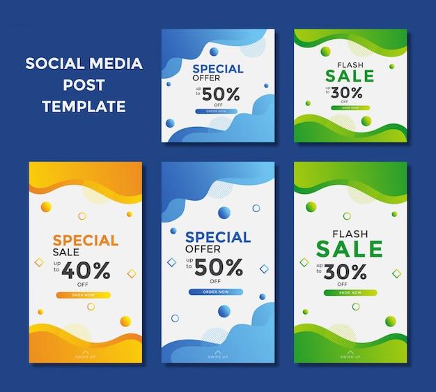 Nowoczesny baner sprzedaży do posta na instagramie w mediach społecznościowych