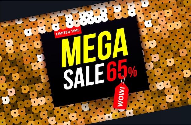 Nowoczesny baner sprzedaży mega z efektem złotej tkaniny cekinowej na specjalne oferty wyprzedaży i rabatów