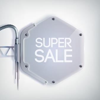 Nowoczesny baner sprzedaży z napisem super wyprzedaż na metalowej sześciokątnej płytce