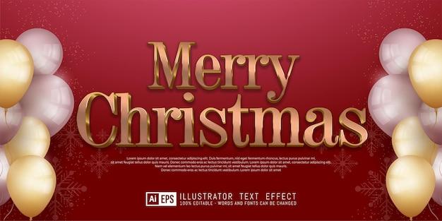 Nowoczesny baner świąteczny z edytowalnym tekstem wesołych świąt w kolorze różowego złota