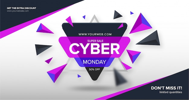 Nowoczesny baner w cyber poniedziałek