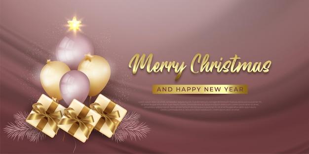 Nowoczesny baner wesołych świąt bożego narodzenia z realistyczną dekoracją elementów