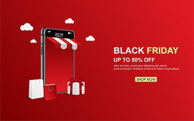 Nowoczesny baner zakupów online w czarny piątek na telefon komórkowy.