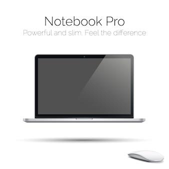 Nowoczesny, bardzo szczegółowy błyszczący laptop