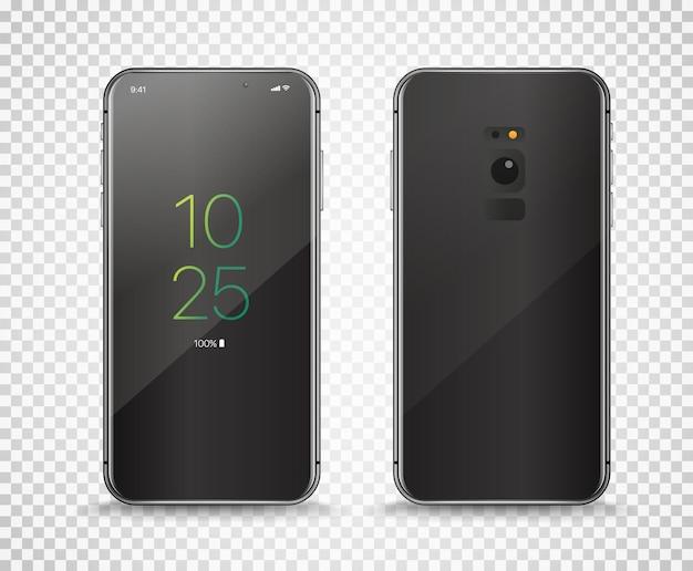 Nowoczesny bezramowy smartfon na przezroczystym tle.