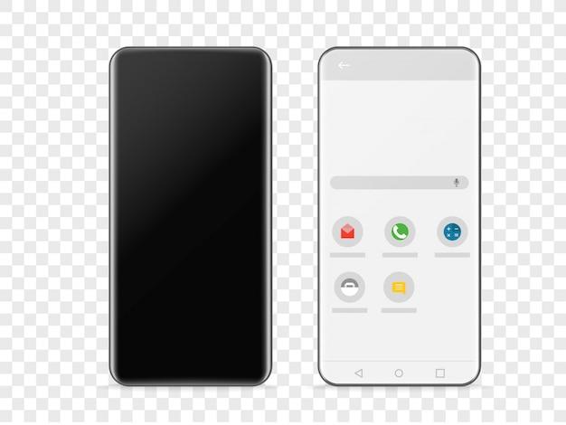 Nowoczesny bezramowy smartphone na przezroczystym tle