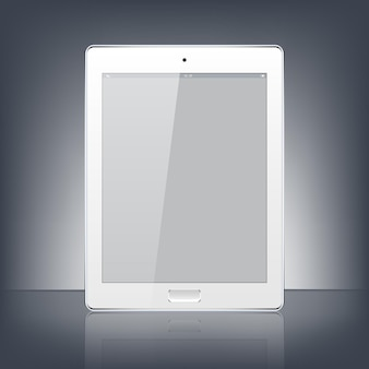 Nowoczesny biały cyfrowy tablet pc na białym tle na czarnym tle.