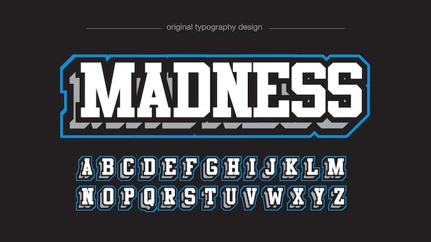 Nowoczesny, biały i niebieski styl typografii 3d varsity