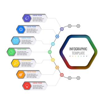 Nowoczesny biznes infografiki z realistycznymi elementami. szablon raportu korporacyjnego