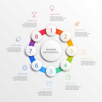 Nowoczesny biznes infografiki z realistycznymi okrągłymi elementami 3d. szablon raportu korporacyjnego z marketingu płaskiej linii