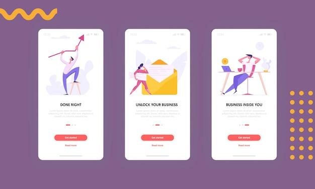 Nowoczesny biznes koncepcja aplikacji mobilnej ekran zestaw ilustracji
