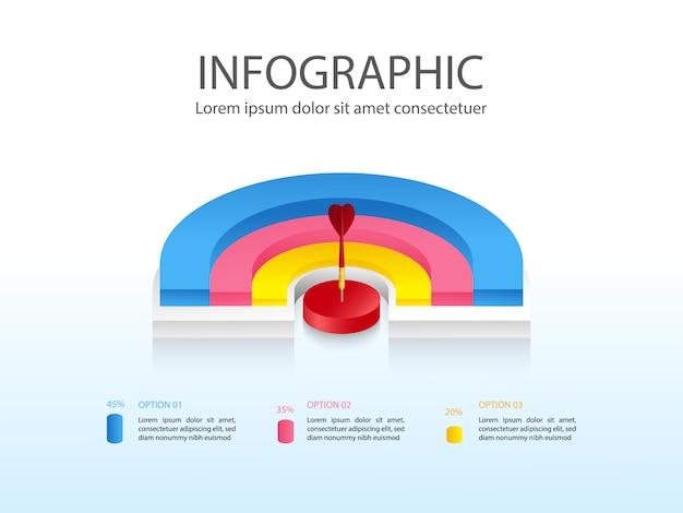 Nowoczesny biznes plansza plansza z kolorowe pół wykres kołowy trzy części i miejsce na tekst