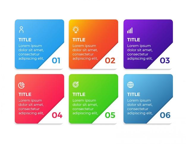 Nowoczesny biznes plansza z 6 krokami