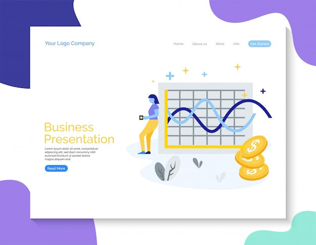 Nowoczesny biznes prezentacji strony internetowej ekranu wektor bacground ilustracja