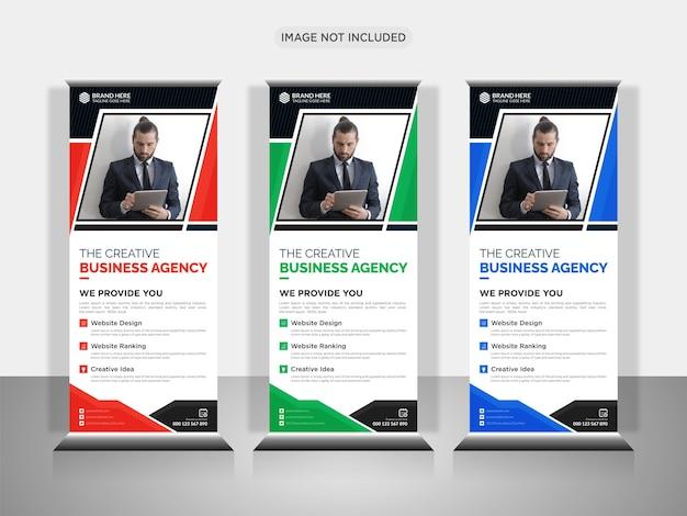 Nowoczesny biznes rollup lub szablon projektu x baner