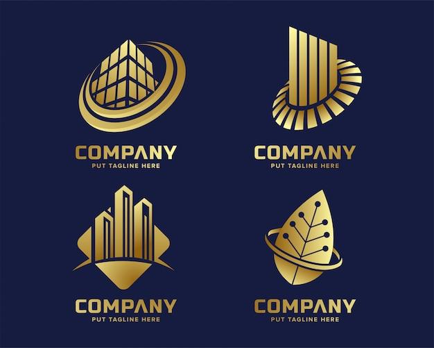 Nowoczesny biznes złoty logo szablon
