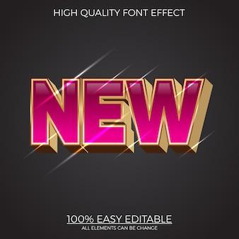 Nowoczesny błyszczący efekt czcionki edytowalny w stylu tekstu 3d