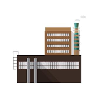 Nowoczesny budynek fabryki przemysłowej z rur emitujących dym na białym tle