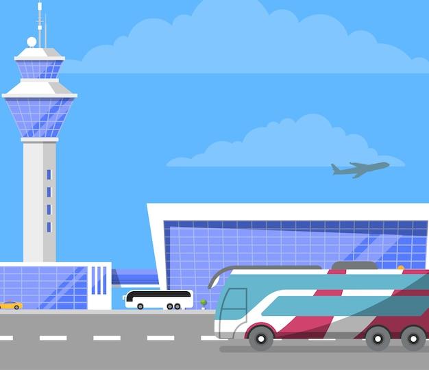 Nowoczesny budynek międzynarodowego lotniska pasażerskiego