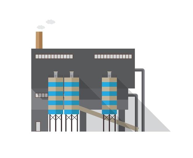 Nowoczesny budynek przemysłowy z rurą emitującą parę na białym tle. elektrociepłownia lub zakład produkcyjny współczesnej architektury. ilustracja kreskówka wektor w stylu płaski
