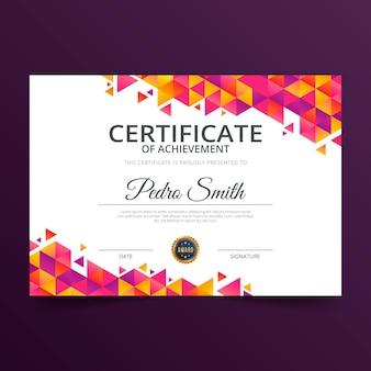Nowoczesny certyfikat osiągnięcia szablonu