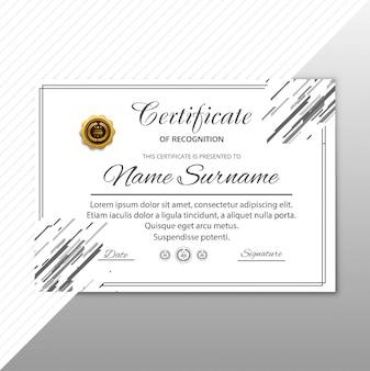 Nowoczesny certyfikat szablon geometryczny tło