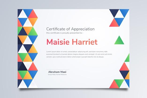 Nowoczesny certyfikat uznania szablon