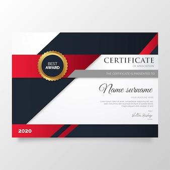 Nowoczesny certyfikat uznania szablonu z czerwonymi kształtami