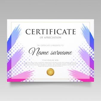 Nowoczesny certyfikat z gradient splash
