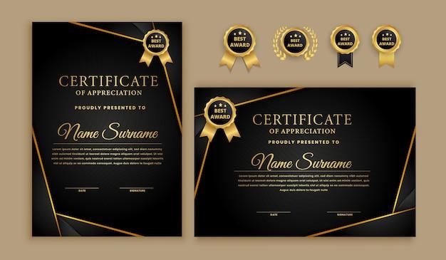 Nowoczesny certyfikat z zestawem odznak