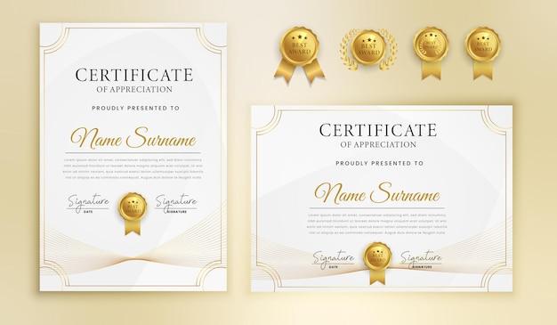 Nowoczesny certyfikat ze złotymi i falistymi liniami z naszywkami