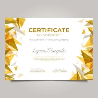 Nowoczesny certyfikat ze złotymi trójkątami