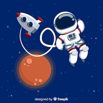 Nowoczesny charakter astronauta z płaskiej konstrukcji