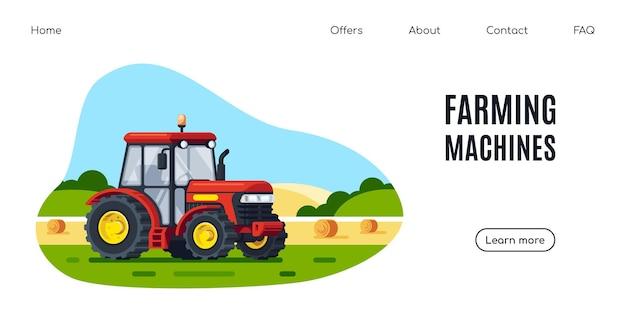 Nowoczesny ciągnik w polu, wiejski krajobraz. maszyny rolnicze. projekt transparentu płaski