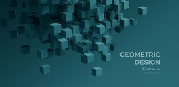 Nowoczesny cyfrowy moduł geometryczny streszczenie tło. stylowy realistyczny plakat z czarnym tłem kostki 3d na ciemnym tle. ilustracja wektorowa technologii eps10