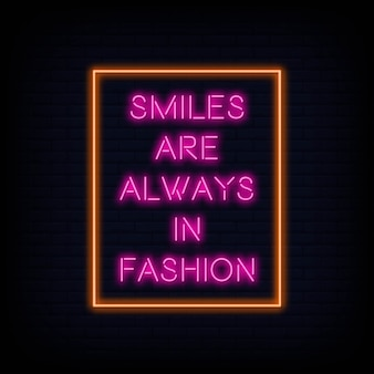 Nowoczesny cytat motywacji uśmiech są zawsze w modzie neon znak tekst wektor
