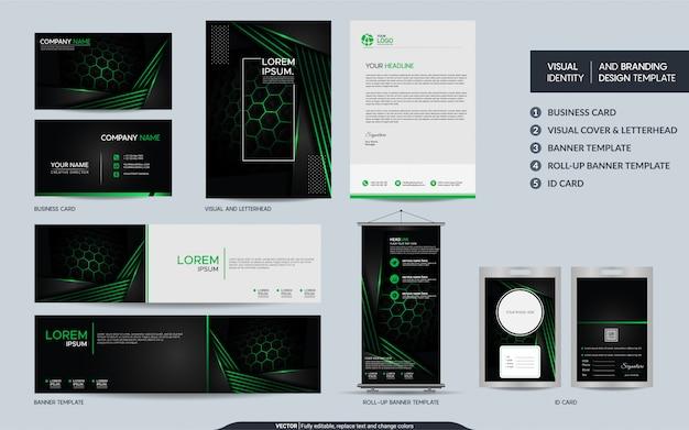Nowoczesny czarno-zielony zestaw papeterii i wizualna tożsamość marki