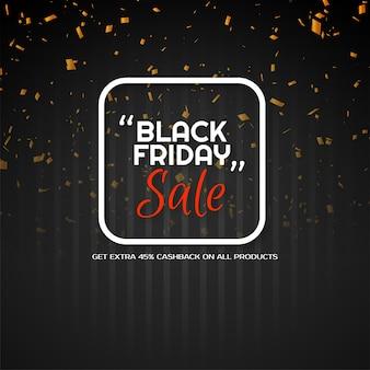Nowoczesny czarny piątek sprzedaż złote konfetti tło wektor