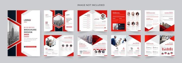 Nowoczesny czerwony i czarny kolor firmy korporacyjnej broszura szablon projektu streszczenie 16 stron tematu