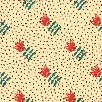 Nowoczesny czerwony kwiat sztuki ludowej wzór na tle kropek.