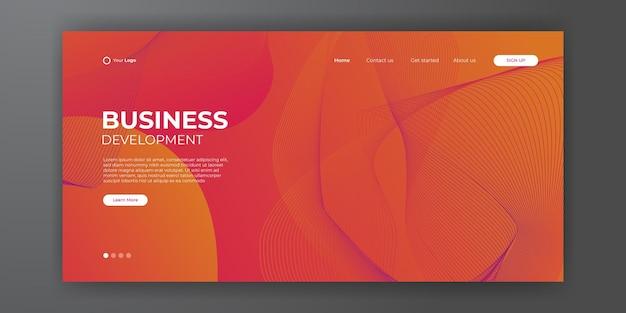 Nowoczesny czerwony pomarańczowy biznes szablon strony docelowej z streszczenie nowoczesne tło 3d. dynamiczna kompozycja gradientowa. projektowanie stron docelowych, okładek, ulotek, prezentacji, banerów. ilustracja wektorowa