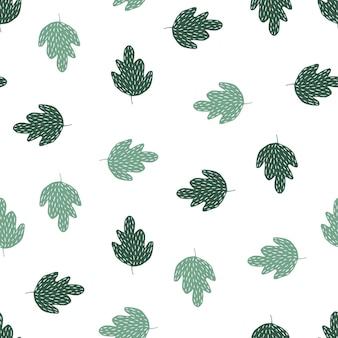 Nowoczesny dąb zielony wzór na białym tle. doodle styl liści tło. prosta tapeta natury. do projektowania tkanin, drukowania tekstyliów, pakowania, okładek. ilustracja wektorowa.