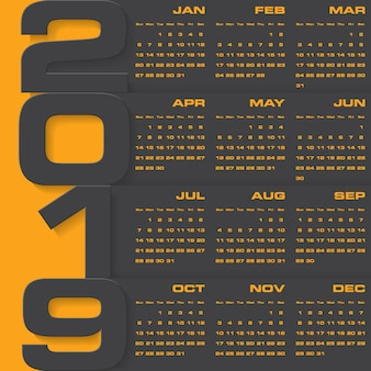 Nowoczesny design kalendarza 2019