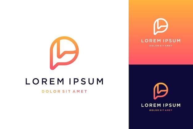 Nowoczesny design logo lub monogram lub inicjały litera p z czatem